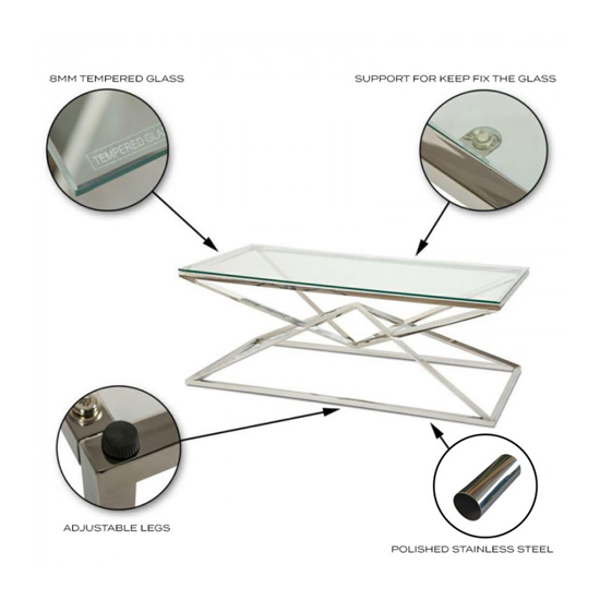 Parma Clear Glass Coffee Table With Silver Stainless Steel Legs_4