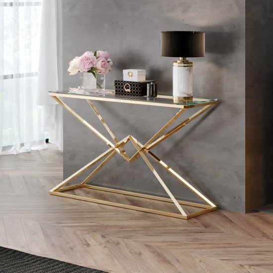 Parma Clear Glass Console Table With Gold Stainless Steel Legs