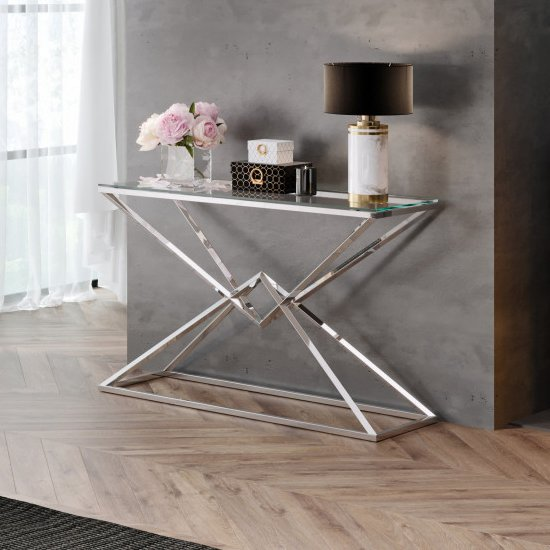 Parma Clear Glass Console Table With Silver Stainless Steel Legs
