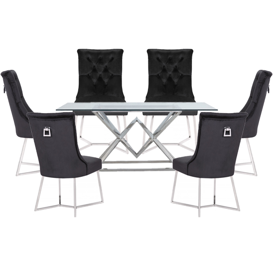 Parma Clear Glass Dining Set With 6 Black Bari Chairs