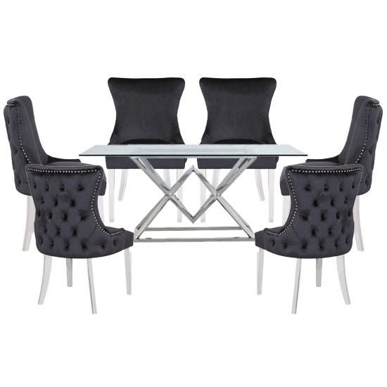 Parma Clear Glass Dining Set With 6 Black Leo Chairs