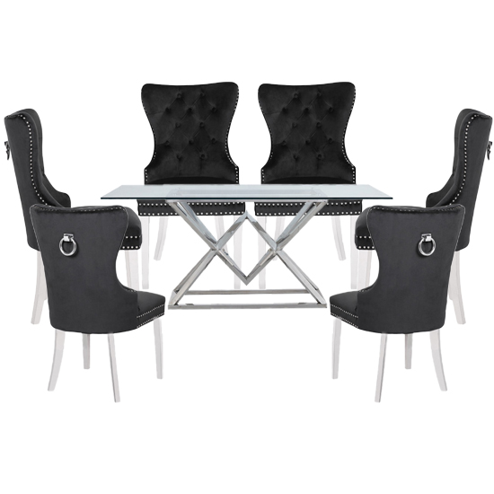 Parma Clear Glass Dining Set With 6 Black Oxford Chairs