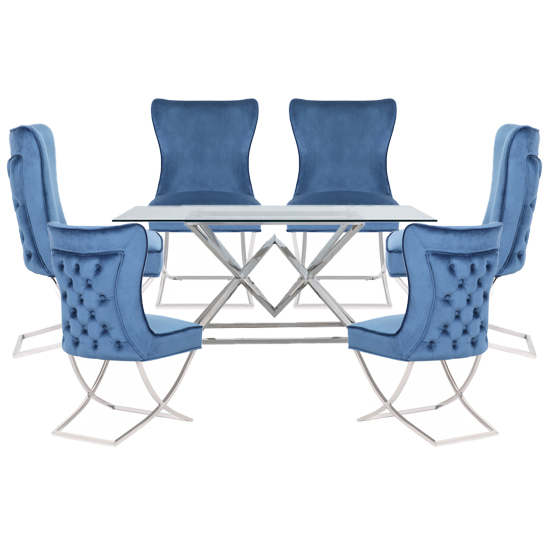Parma Clear Glass Dining Set With 6 Blue Cavalli Chairs