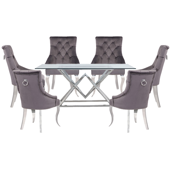 Parma Clear Glass Dining Set With 6 Dark Grey Angelo Chairs_1