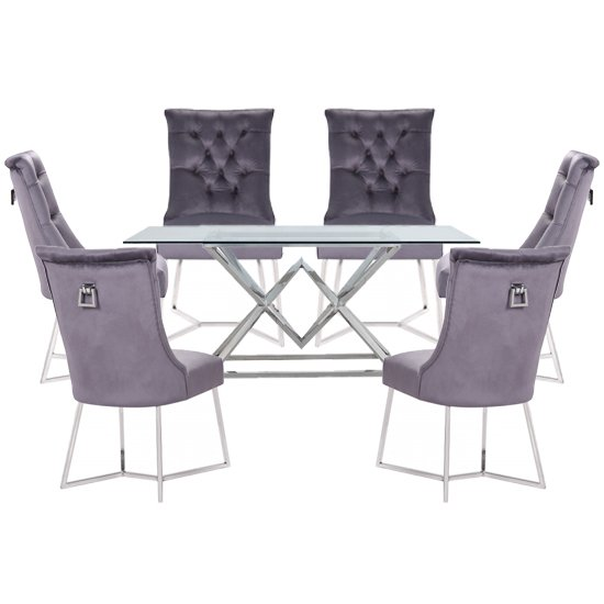 Parma Clear Glass Dining Set With 6 Dark Grey Bari Chairs