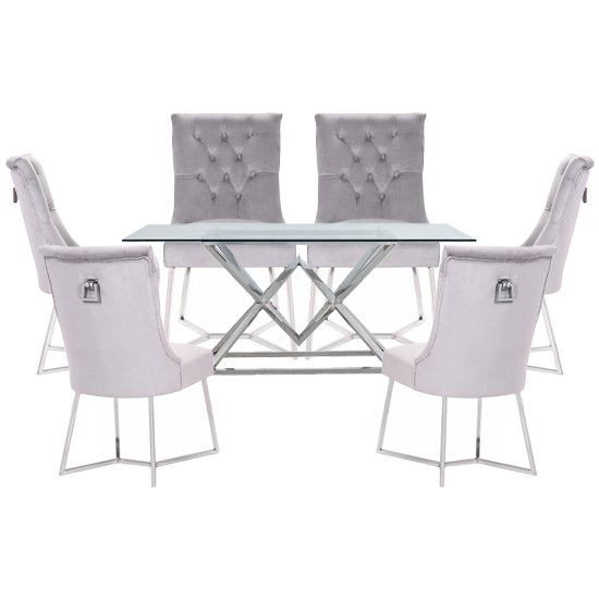 Parma Clear Glass Dining Set With 6 Grey Bari Chairs