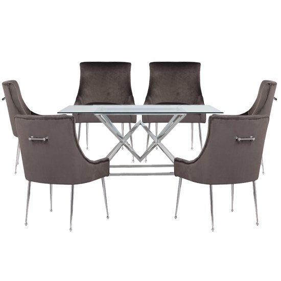 Parma Clear Glass Dining Set With 6 Grey Jersey Chairs_1