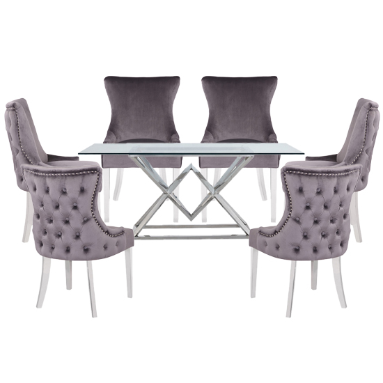 Parma Clear Glass Dining Set With 6 Grey Leo Chairs