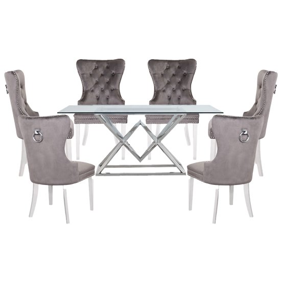 Parma Clear Glass Dining Set With 6 Grey Oxford Chairs