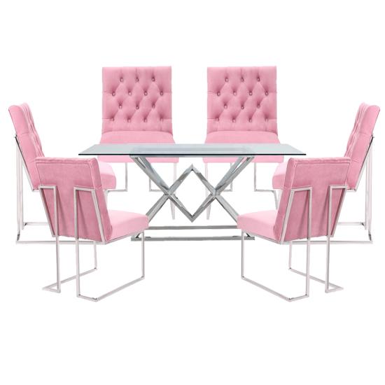 Sarah Extending Glass Dining Table With, Sarah Extending Glass Dining Table With 6 Romeo Chairs