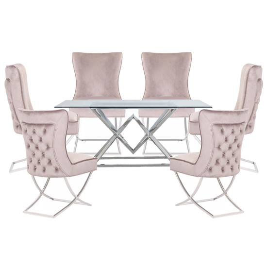 Parma Clear Glass Dining Set With 6 Taupe Cavalli Chairs