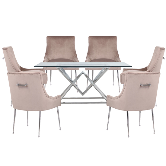 Parma Clear Glass Dining Set With 6 Taupe Jersey Chairs