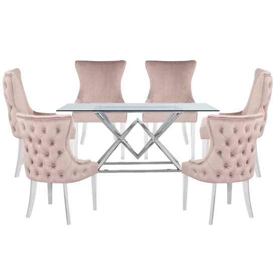 Parma Clear Glass Dining Set With 6 Taupe Leo Chairs