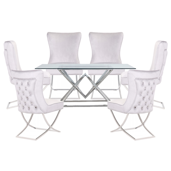 Product photograph showing Parma Clear Glass Dining Set With 6 White Cavalli Chairs