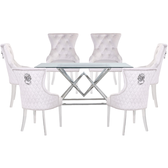Parma Clear Glass Dining Set With 6 White Madison Chairs