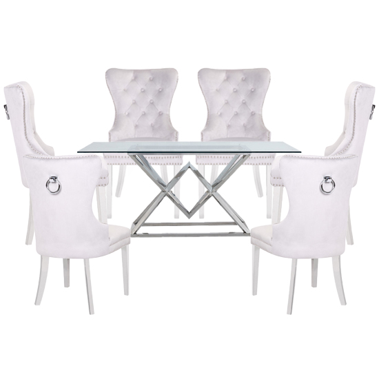 Parma Clear Glass Dining Set With 6 White Oxford Chairs