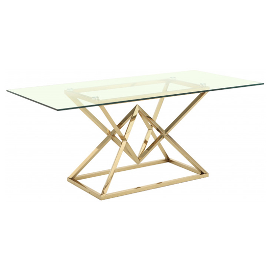 View Parma clear glass dining table with gold stainless steel base