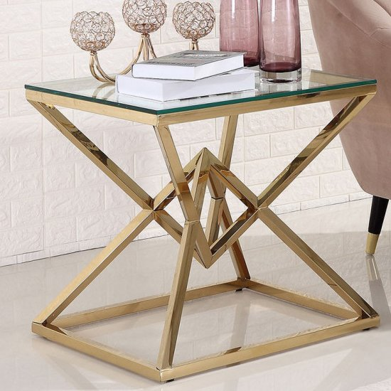 Parma Clear Glass Side Table With Gold Stainless Steel Legs