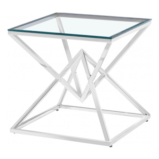 Parma Clear Glass Side Table With Silver Stainless Steel Legs_2