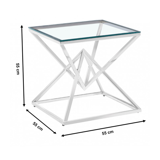 Parma Clear Glass Side Table With Silver Stainless Steel Legs_3