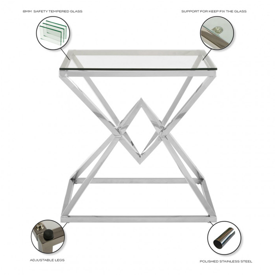 Parma Clear Glass Side Table With Silver Stainless Steel Legs_4