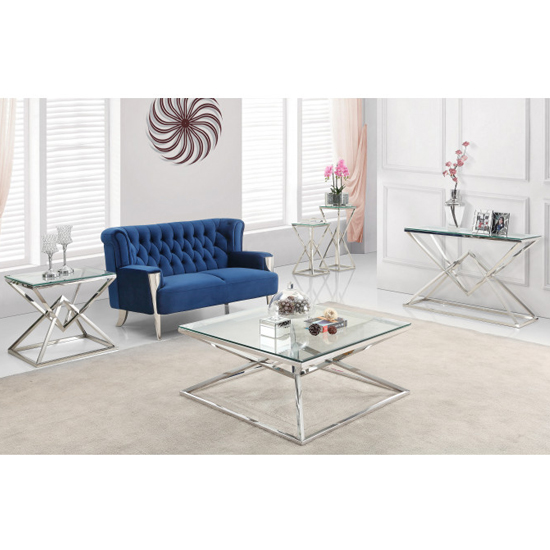 Parma Clear Glass Side Table With Silver Stainless Steel Legs_5
