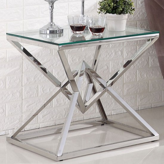 Parma Clear Glass Side Table With Silver Stainless Steel Legs