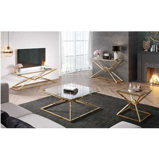 Parma Clear Glass TV Stand With Gold Stainless Steel Legs_5