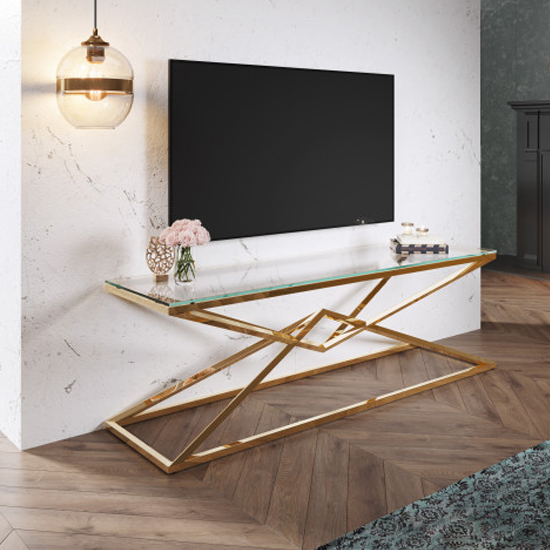 Parma Clear Glass TV Stand With Gold Stainless Steel Legs_1