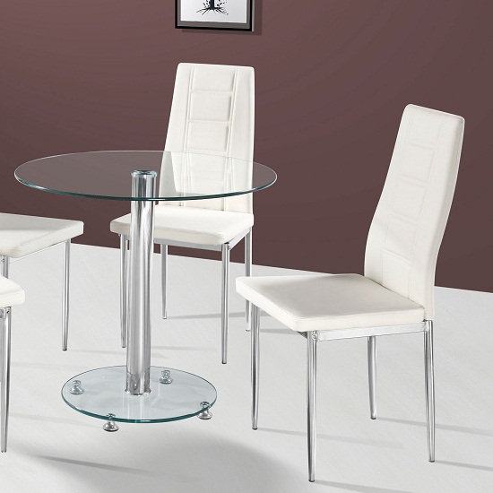 Kristof Glass Dining Table With 2 Cream Nova Chairs