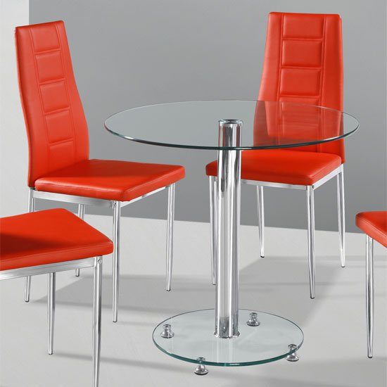 Kristof Glass Dining Table With 2 Red Nova Chairs