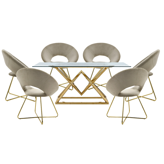 Parma Glass Dining Set In Gold Base With 6 Beige Barclay Chairs