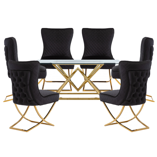 Parma Glass Dining Set In Gold Base With 6 Black Lorenzo Chairs_1