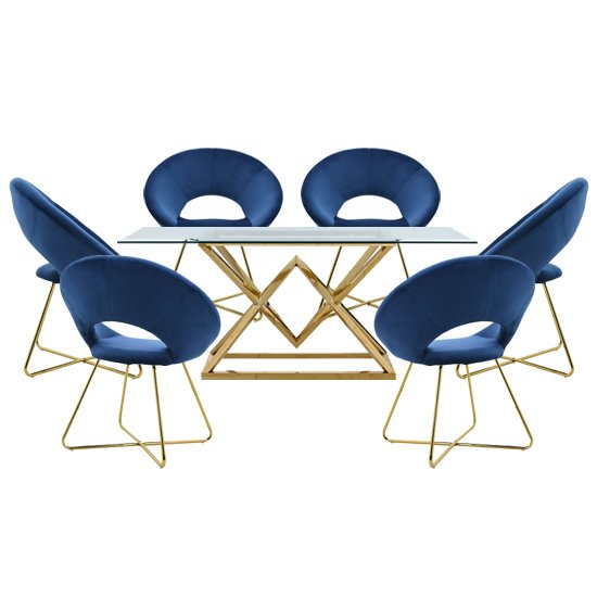 Parma Glass Dining Set In Gold Base With 6 Blue Barclay Chairs