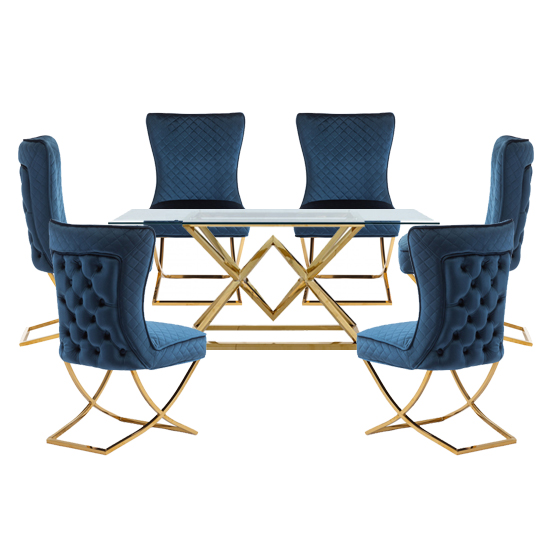 View Parma glass dining set in gold base with 6 blue lorenzo chairs