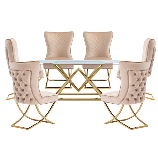 Parma Glass Dining Set In Gold Base With 6 Brown Lorenzo Chairs