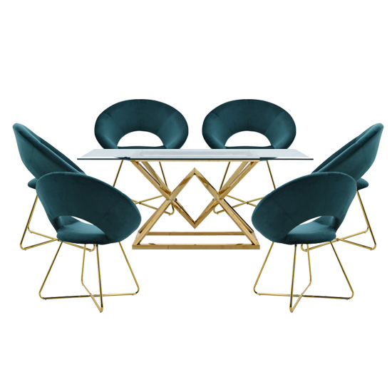 View Parma glass dining set in gold base with 6 green barclay chairs