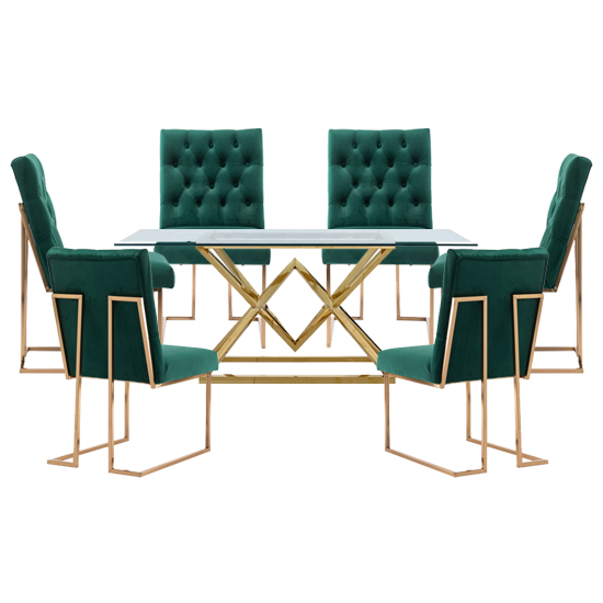 View Parma glass dining set in gold base with 6 green dino chairs
