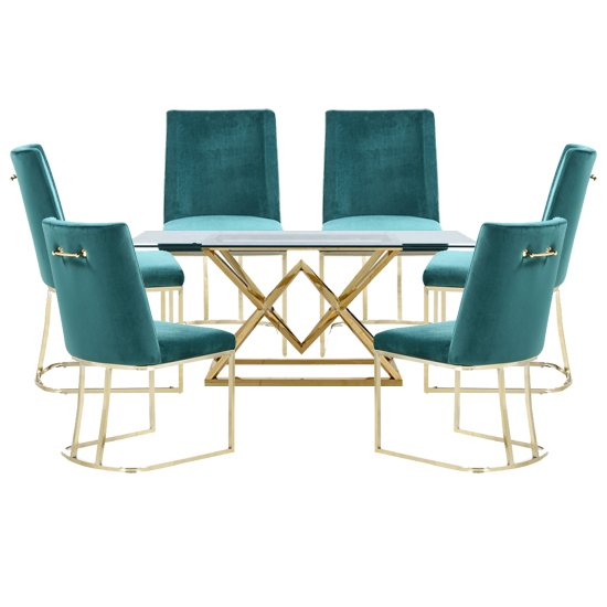 Parma Glass Dining Set In Gold Base With 6 Green Milo Chairs