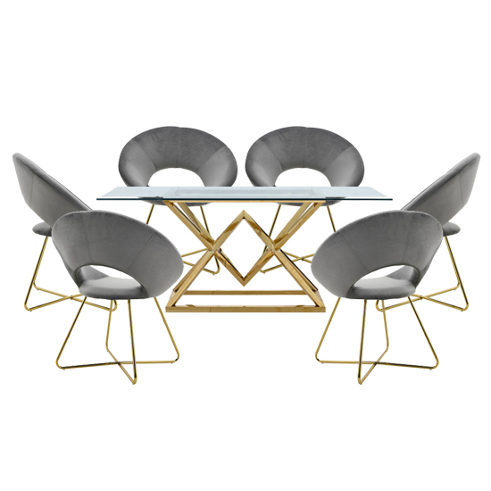 Parma Glass Dining Set In Gold Base With 6 Grey Barclay Chairs
