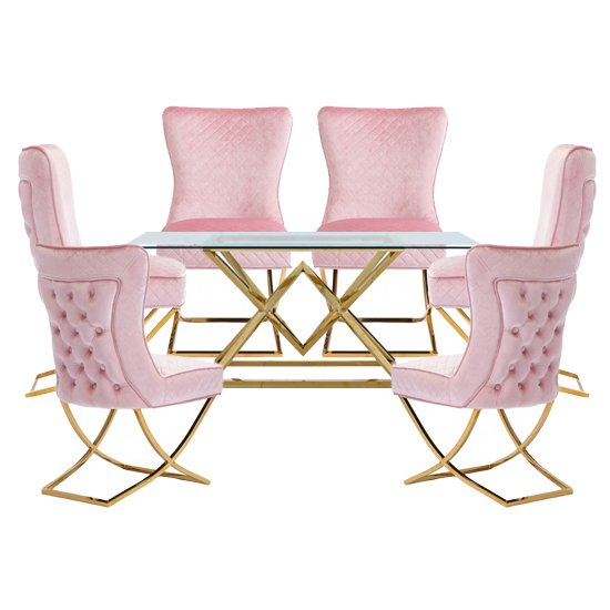 Parma Glass Dining Set In Gold Base With 6 Pink Lorenzo Chairs