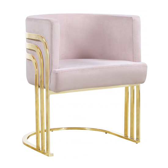 Parma Glass Dining Set In Gold Base With 6 Pink Lula Chairs_2