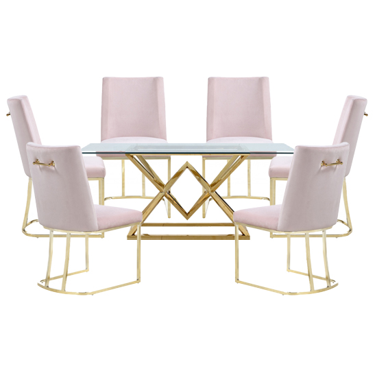View Parma glass dining set in gold base with 6 pink milo chairs