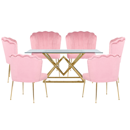 Product photograph showing Parma Glass Dining Set In Gold Base With 6 Pink Nora Chairs