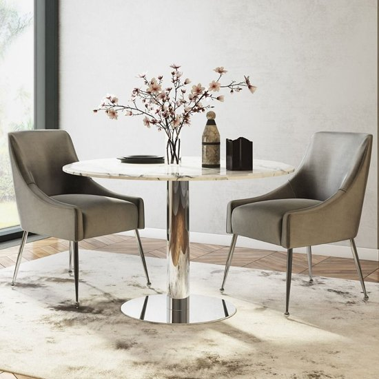 Parma Round Marble Dining Table In Light Grey_2