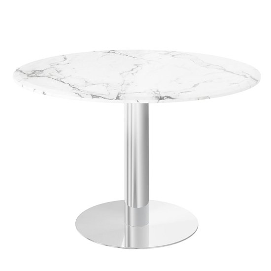 Parma Round Marble Dining Table In Light Grey_1