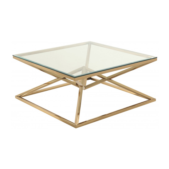 Parma Square Clear Glass Coffee Table With Gold Steel Legs_2