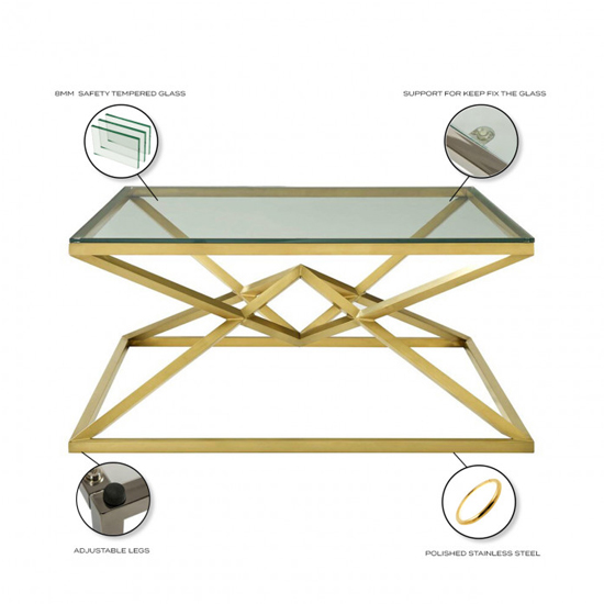 Parma Square Clear Glass Coffee Table With Gold Steel Legs_4