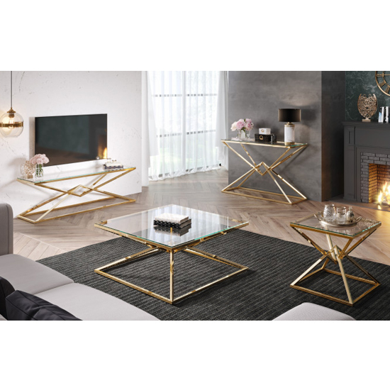 Parma Square Clear Glass Coffee Table With Gold Steel Legs_5