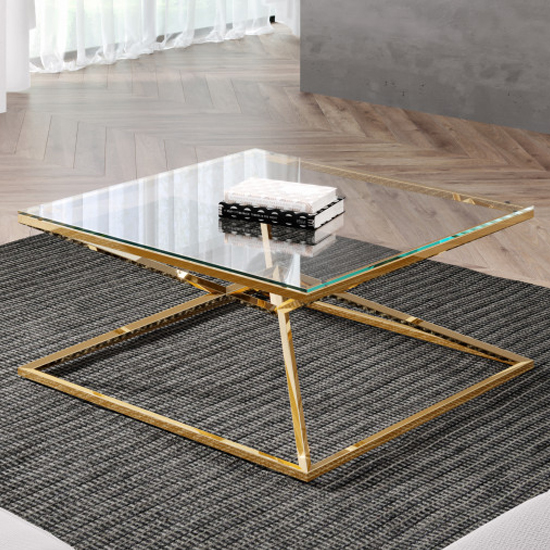 Parma Square Clear Glass Coffee Table With Gold Steel Legs_1